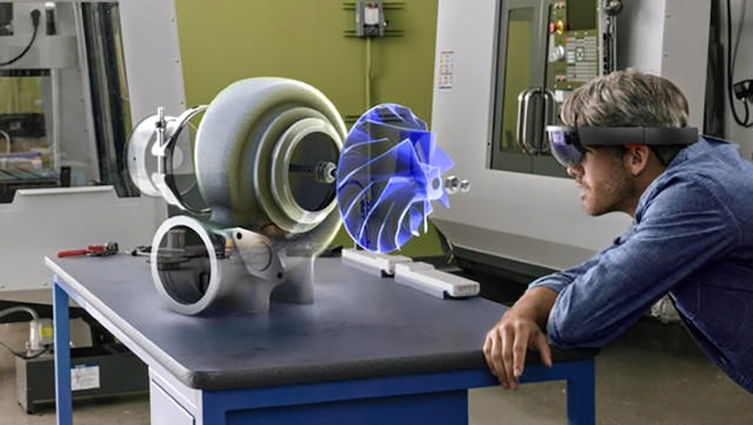 Microsoft HoloLens technology makes propulsion systems come alive. Photo courtesy of Microsoft via Western Michigan College of Aviation.