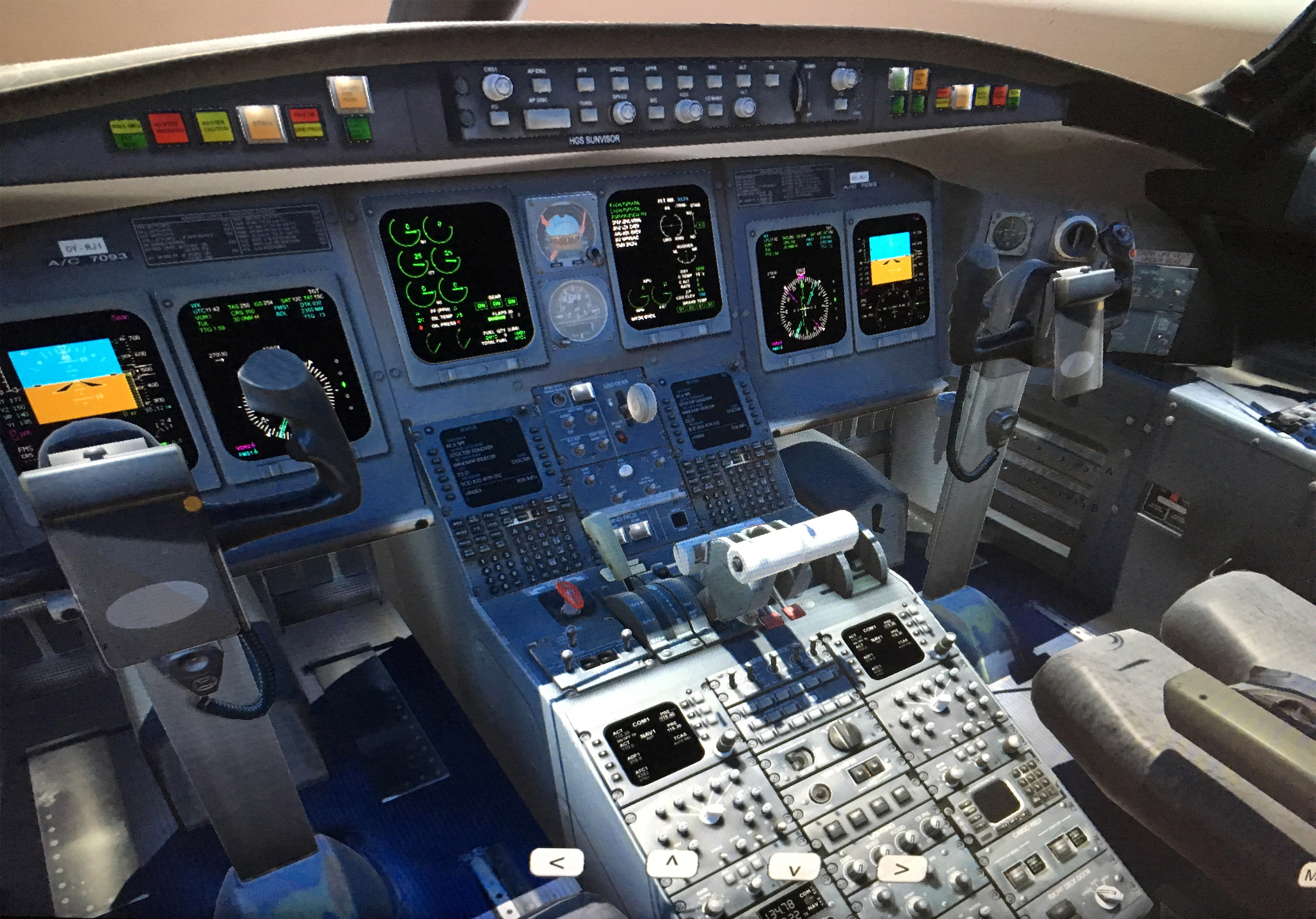 A CRJ200 jet cockpit is depicted in augmented reality technology at the Western Michigan College of Aviation. Photo courtesy of Lori Brown, Western Michigan College of Aviation.