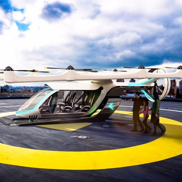 Embraer X is among several aircraft makers seeking to create flying taxis for rooftop-to-rooftop service in cities. Image courtesy of Embraer.