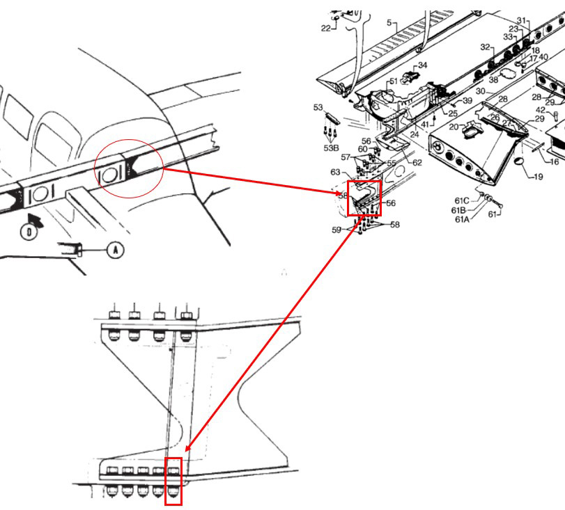 This NTSB graphic highlights the left-wing assembly and attachment bolt for a Piper PA-28R-201. The NTSB is investigating the April 4 crash of a Piper PA-28R-201 that killed two people near Daytona Beach, Florida. The wing spar attachment bolt hole is an area of interest to the NTSB in its investigation. NTSB graphic created from illustrations in the Piper Aircraft, Inc., PA-28-R-201 Arrow, Airplane Parts Catalog, and the Piper Aircraft Inc. PA-28R-201 Arrow Maintenance Manual.