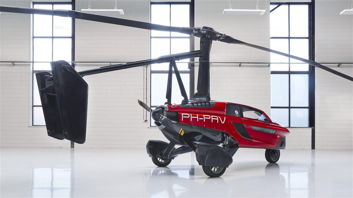 The PAL-V Liberty flies as a gyrocopter, with a rotor and vertical stabilizer assembly that fold for street use in a few minutes. Photo courtesy of PAL-V International.