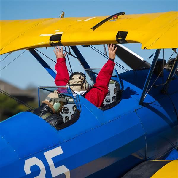 When you are in Wichita, you can't pass up a vintage biplane ride at Stearman Field! Photo courtesy of Visit Wichita.