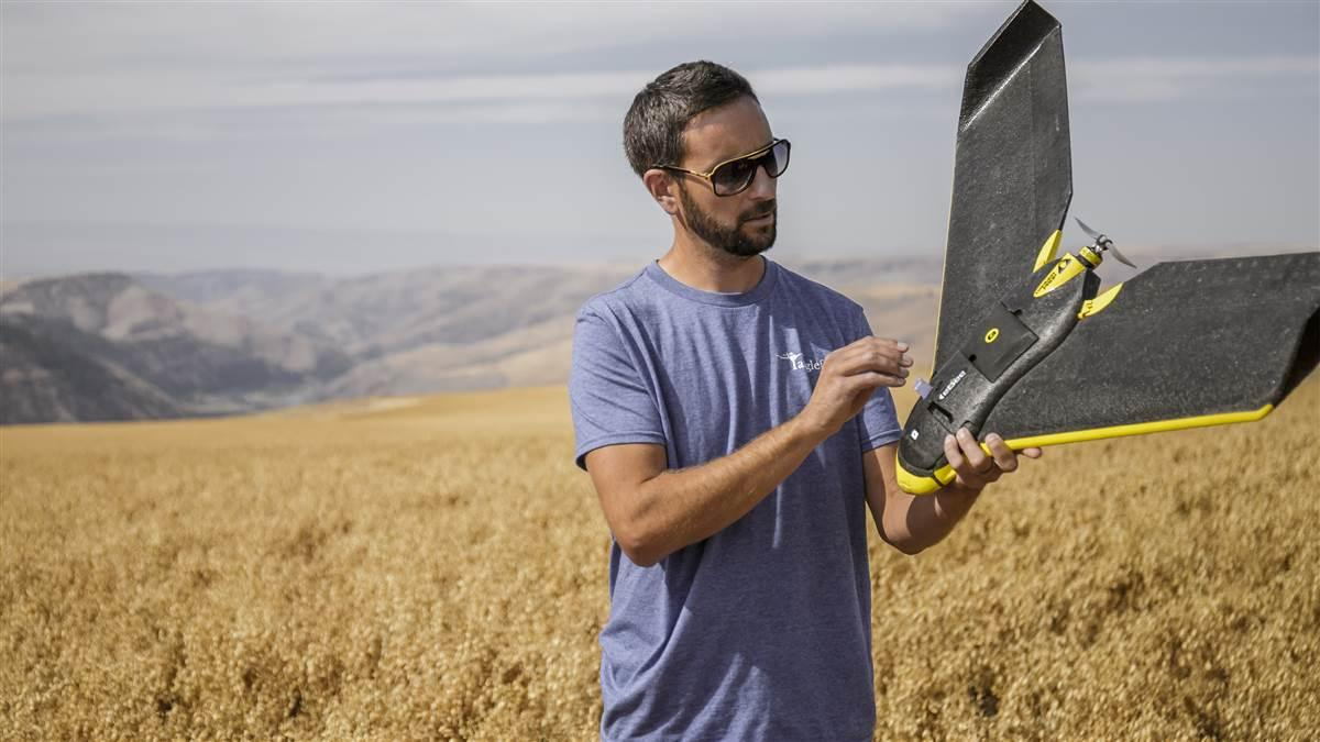 Robert Schoepflin inspects his eBee drone after a flight inspecting wildlife damage to a chickpea crop. AOPA file photo by Mike Fizer.