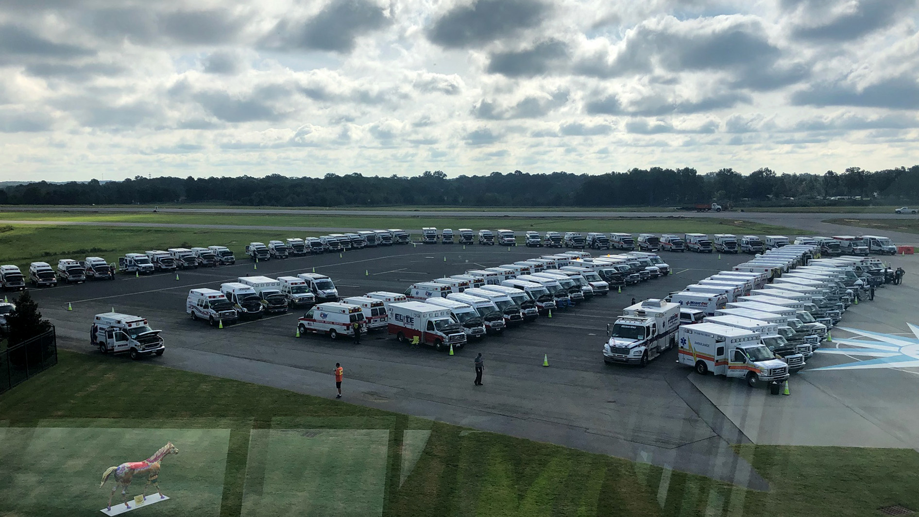 The general aviation airport at Spartanburg, South Carolina, is a staging ground for emergency responders and disaster-relief workers providing aid in the wake of Hurricane Florence. Photo courtesy of Terry Connorton.