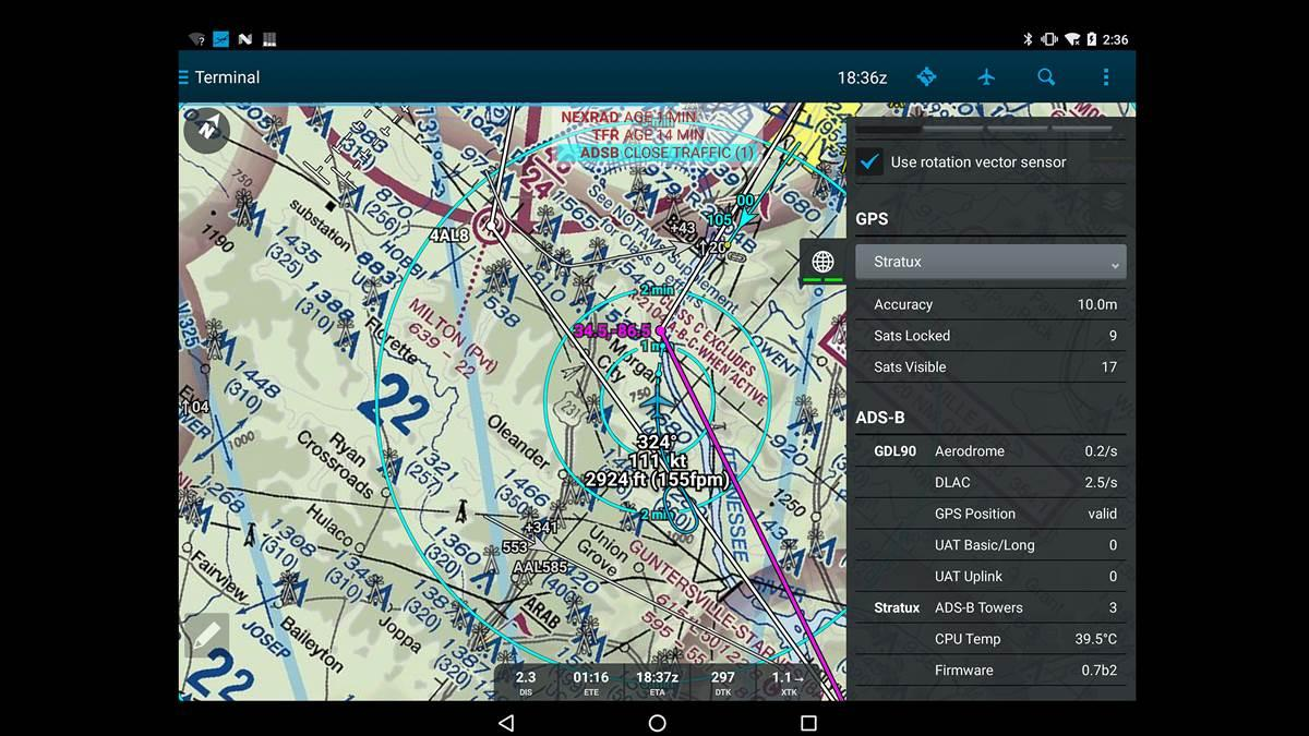 Pilots using Android devices and the AOPA Flight Planner can use DroidEFB to integrate AOPA Flight Planner functionality with handheld Android devices. Photo courtesy of DroidEFB.