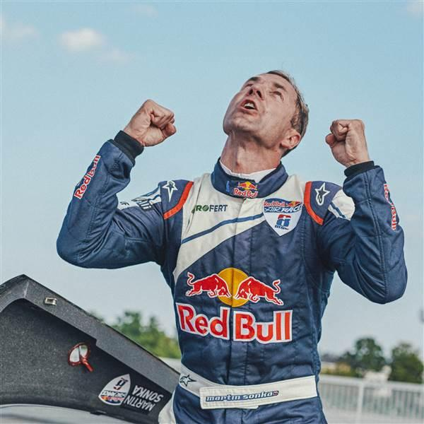 Martin Sonka of the Czech Republic celebrates after the finals at the sixth round of the Red Bull Air Race World Championship in Wiener Neustadt, Austria, Sept. 16. Photo by Balazs Gardi/Red Bull Content Pool.