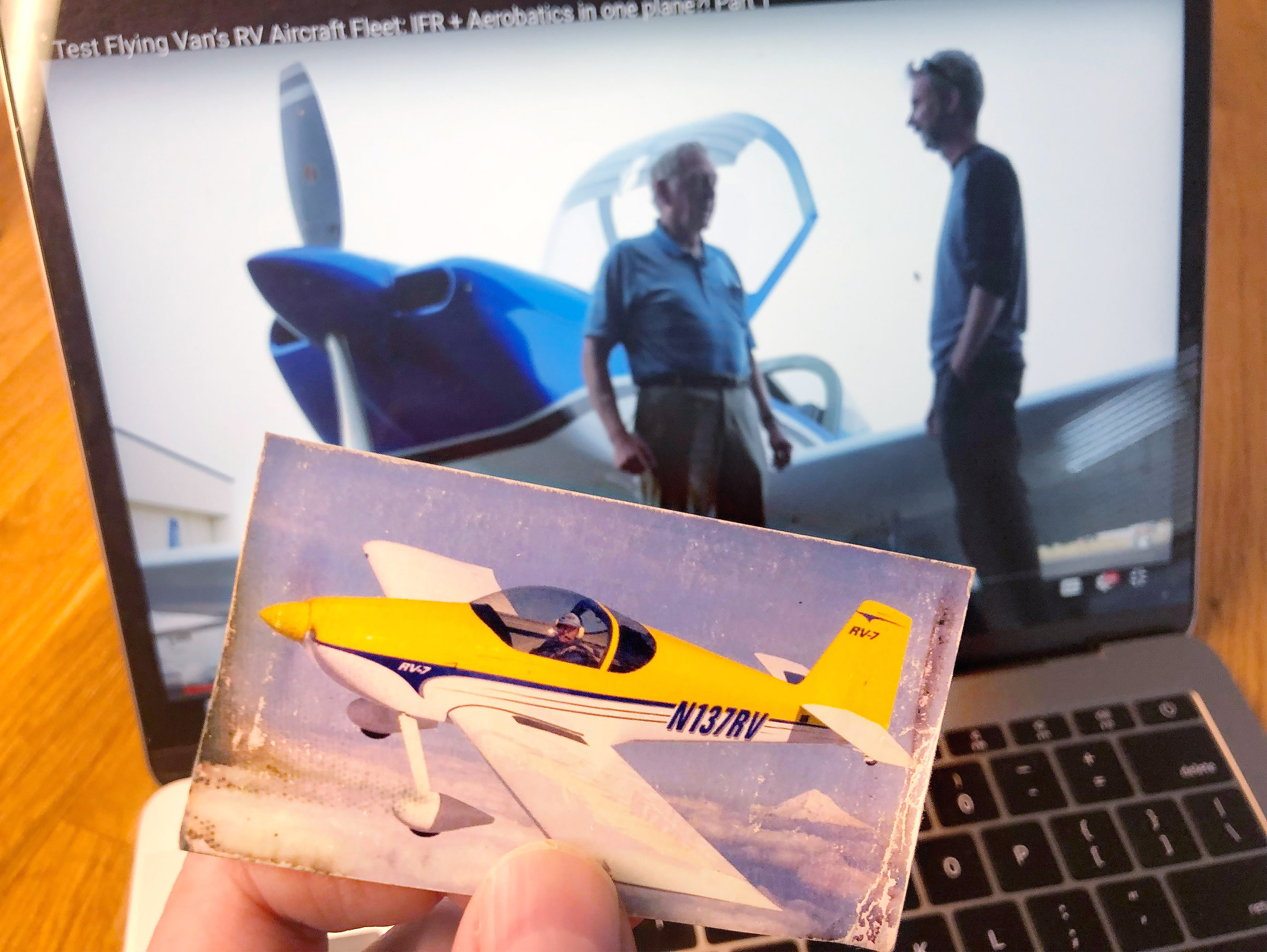 YouTube social media influencer Steve Thorne, known for his Flight Chops YouTube channel, has carried around a dog-eared photo of a Van's Aircraft RV-7 since 2001. Photo courtesy of Steve Thorne, Flight Chops.