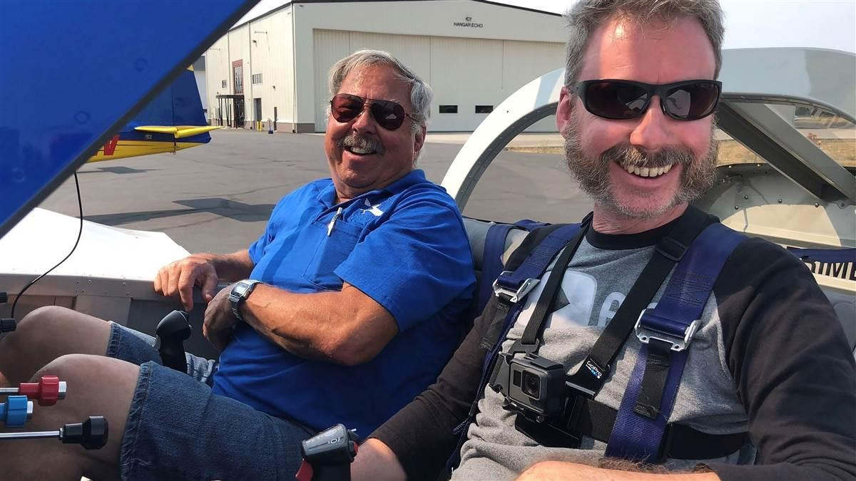 YouTube social media influencer Steve Thorne, known for his Flight Chops YouTube channel, is partnering with Van's Aircraft to document, build, and fly a two-seat RV-14 model. Thorne is shown with company flight instructor Mike Seager during a 2018 fly-off between five models. Photo courtesy of Steve Thorne, Flight Chops.
