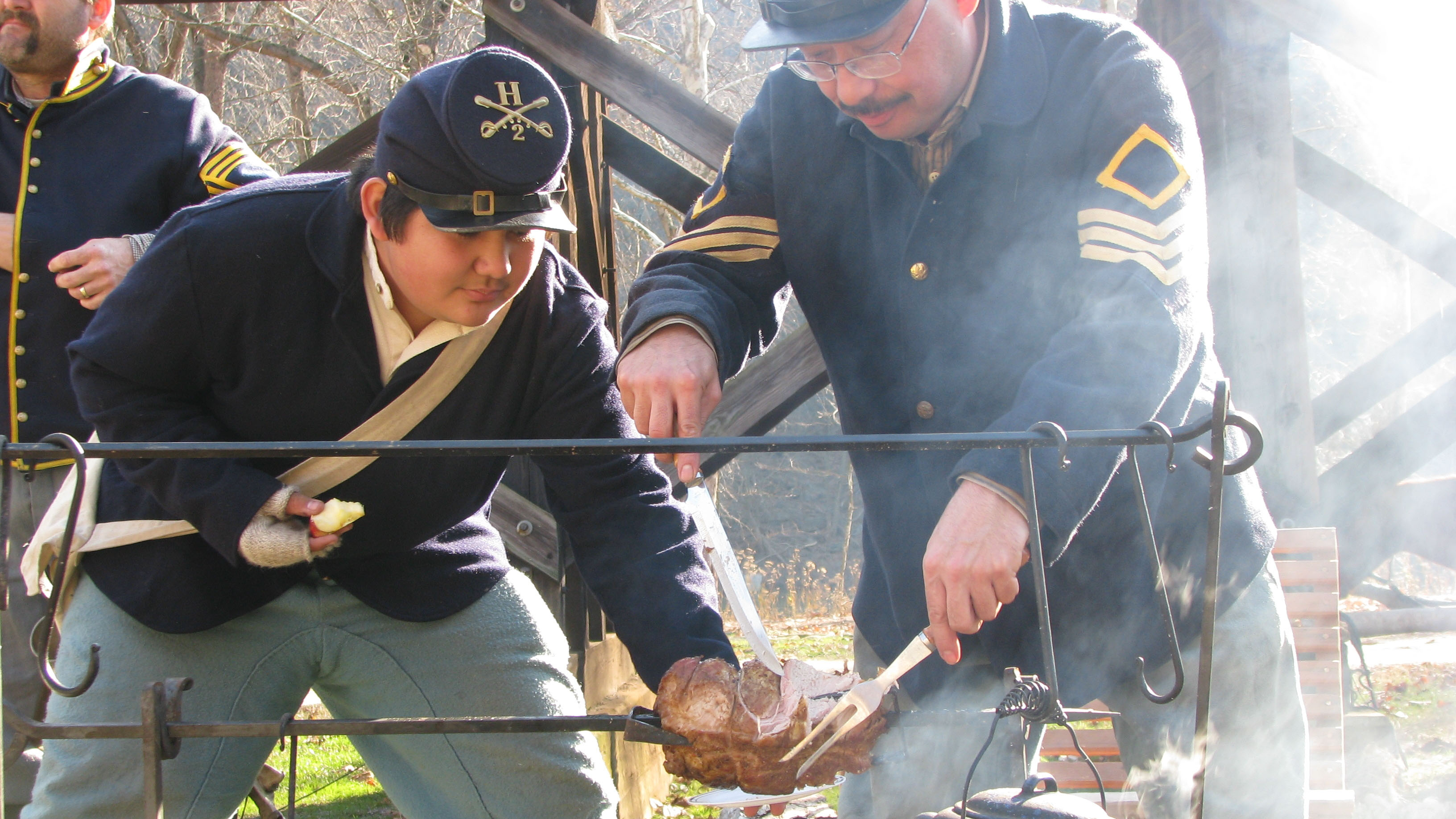 Reenactors in Capt. Flagg's US Quartermaster City: Approach of Peace in Harpers Ferry, Maryland. Photo courtesy of the National Park Service.
