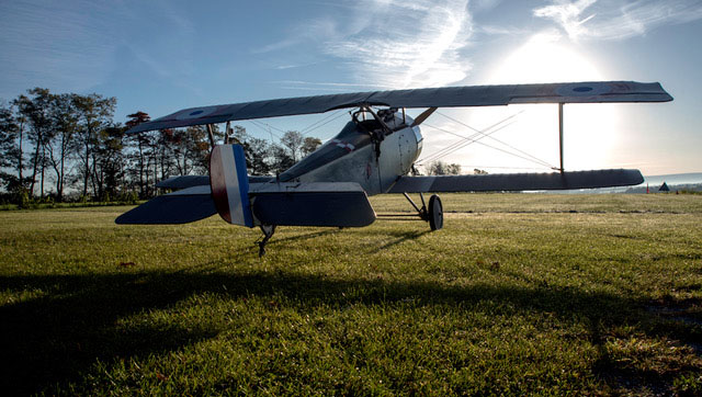 Tom Martin's seven-eighths-scale Nieuport 17 replica ready for filming at Drillmore Acres Airfield in Pennsylvania. Photo by Dan Patterson.