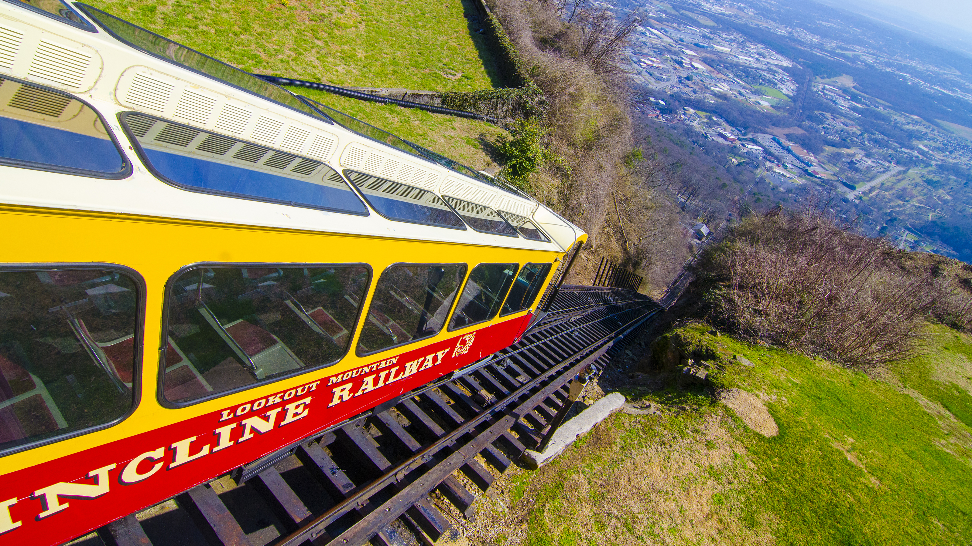 The funicular railroad system of the Incline Railroad is over 100 years old and still transports riders up Lookout Mountain. Photo courtesy of Chattanooga Convention and Visitors Bureau.
