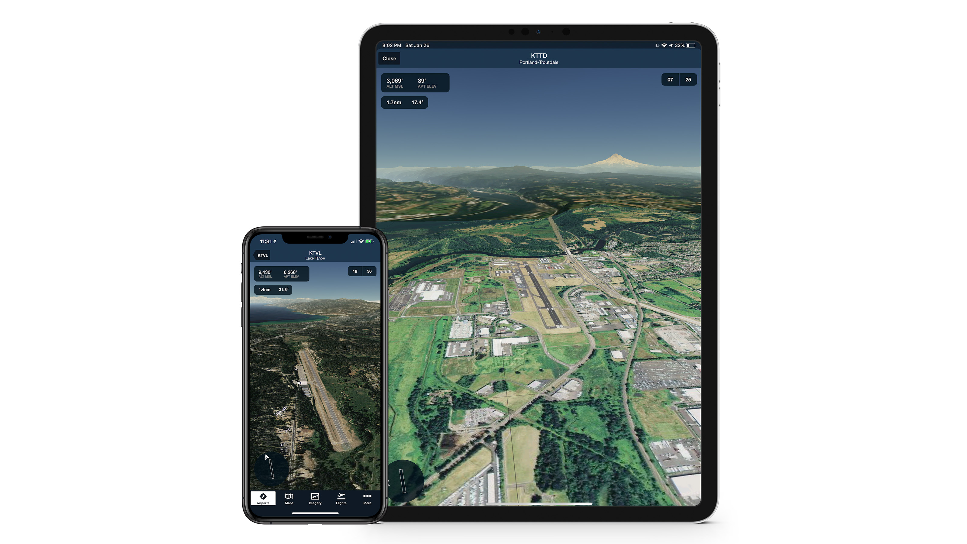 The ForeFlight Airport 3D view demonstrated on different devices. Graphic courtesy of ForeFlight.