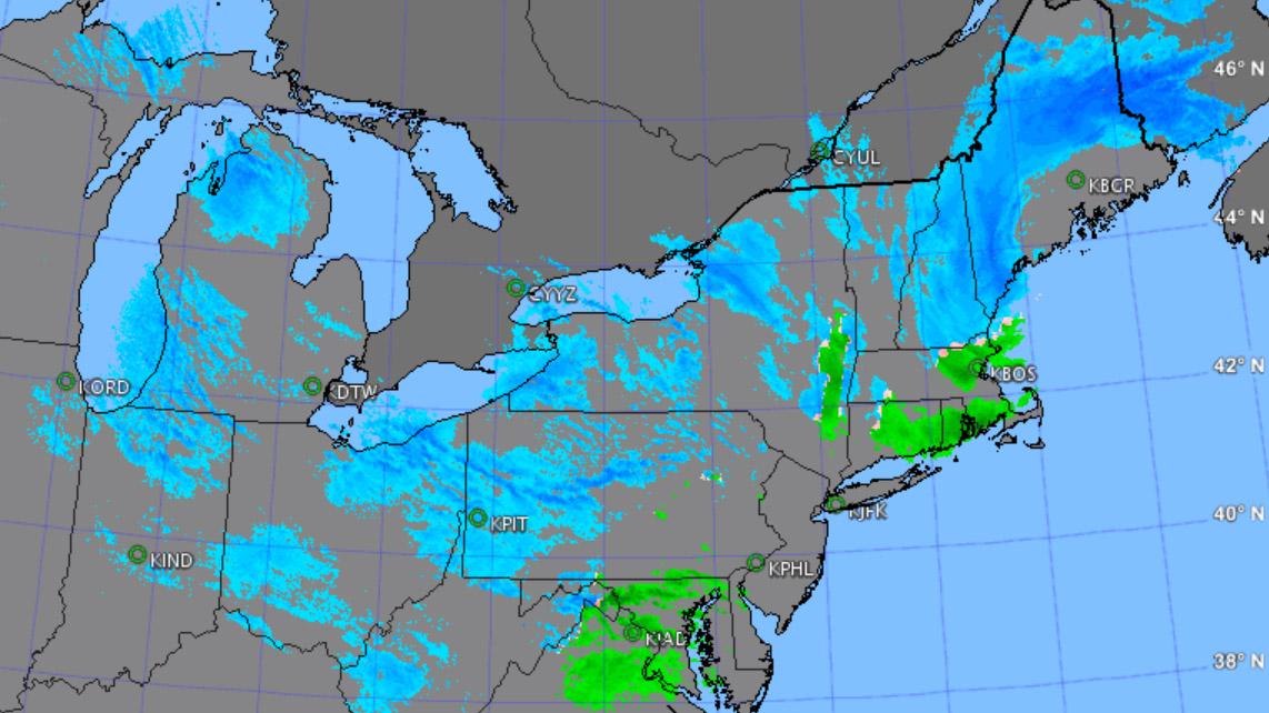 A January snowstorm's precipitation, as depicted by radar. AOPA Weather graphic.