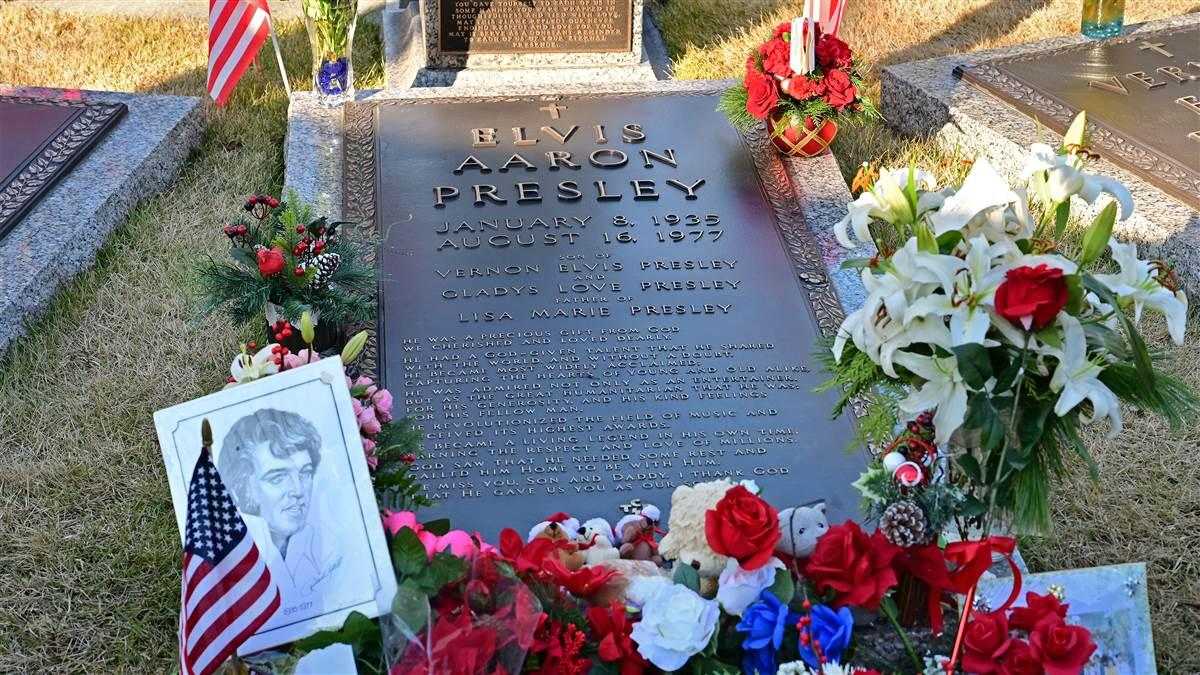 Elvis Presley is buried on his Graceland mansion grounds at the meditation garden, along with other family members.  Presley devotees gather at the garden to honor his Jan. 8 birthday. Photo by David Tulis.