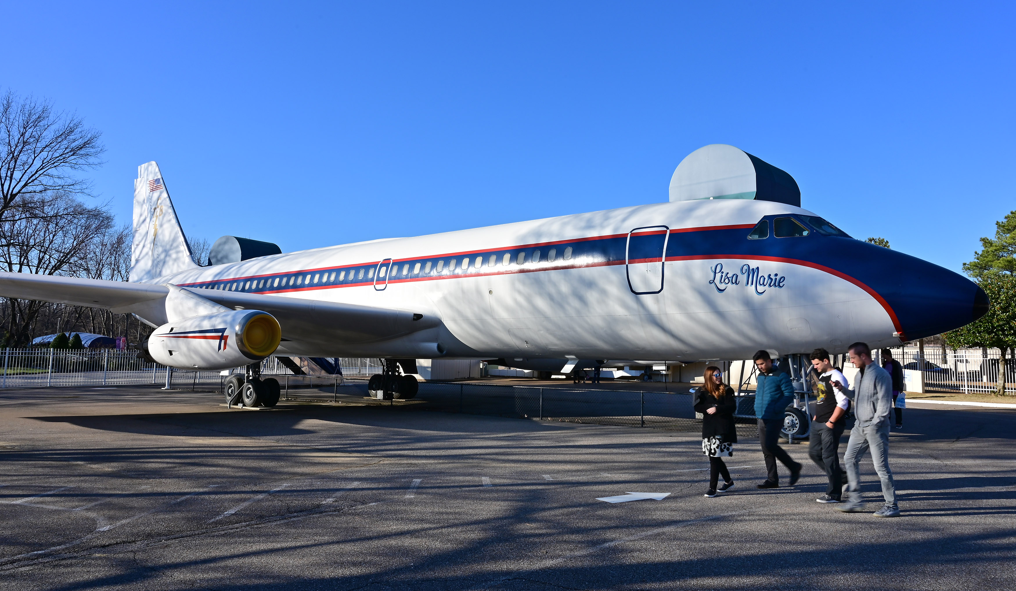 The Convair 880 passenger aircraft that was purchased by musician Elvis Presley for transportation to and from live concerts across the U.S. in the 1970s is on display at Graceland in Memphis, Tennessee. The aircraft, formerly in use by Delta Air Lines, cost the singer $250,000, and he spent an additional $800,000 to customize it. Photo by David Tulis.