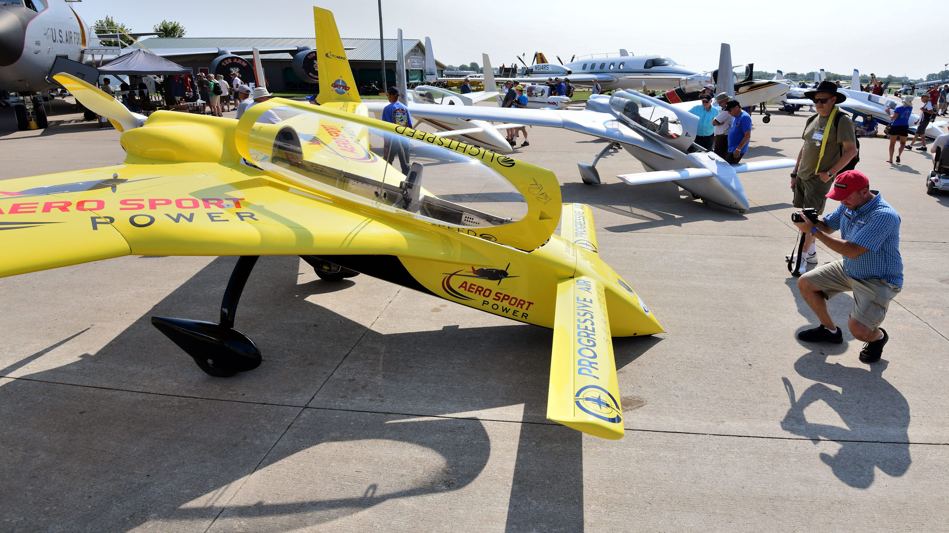 A number of aircraft conceived by legendary aircraft designer Burt Rutan are on display at Boeing Plaza. Rutan and his designs are being celebrated at EAA AirVenture 2019. Photo by Mike Collins.