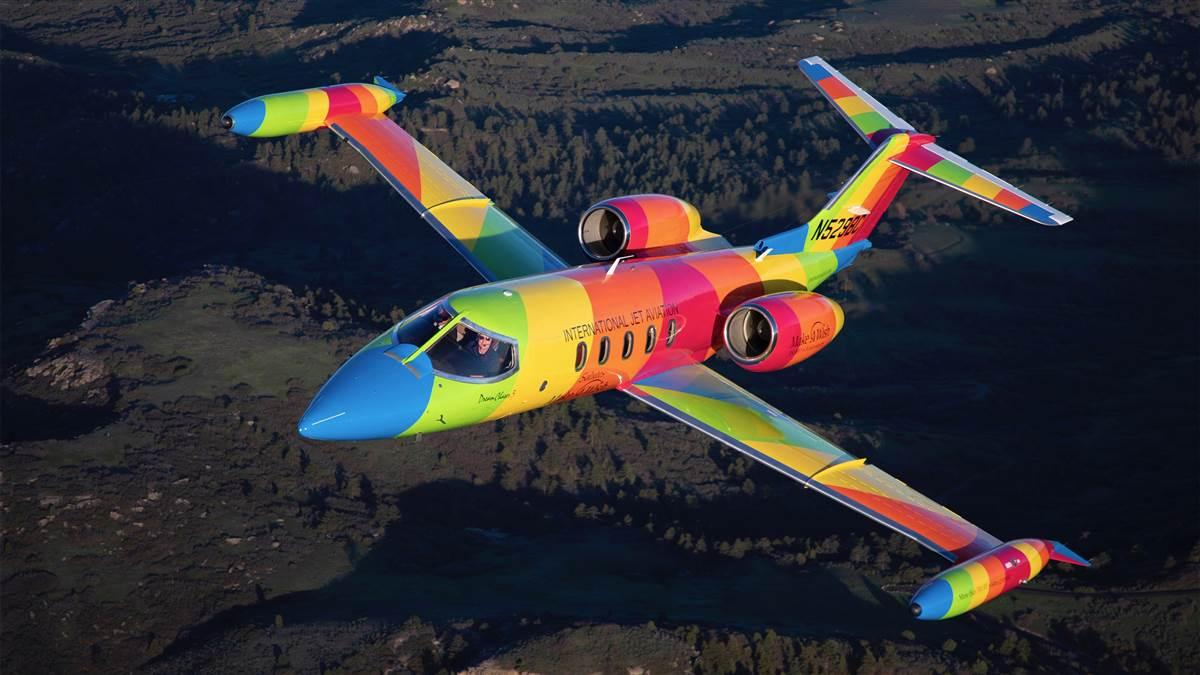 A 1982 Learjet 35A operated by International Jet Aviation was outfitted in rainbow colors to help fulfill the dreams of seriously ill children during Make-A-Wish charity flights. Photo courtesy of International Jet Aviation.