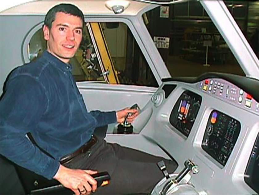 Alsim co-founder founder Jean-Paul Monnin is shown at the controls of an early design. The company is celebrating its twenty-fifth anniversary. Photo courtesy of Alsim.
