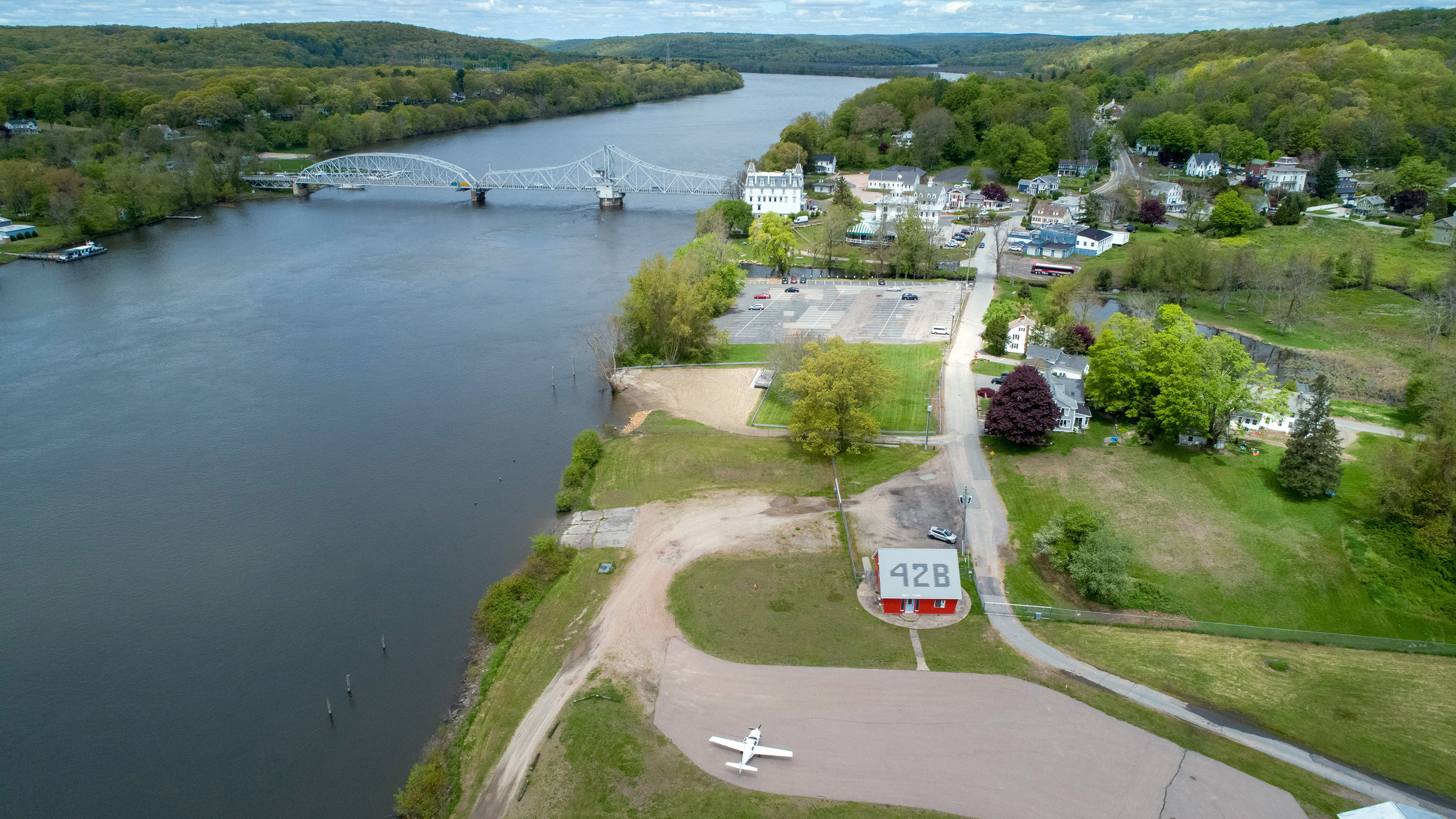 The Goodspeed Opera House is an excellent regional theater nestled beside the East Haddam Bridge on the Connecticut River. Goodspeed Airport (42B) is within walking distance to the south. Photo by Jim Moore.
