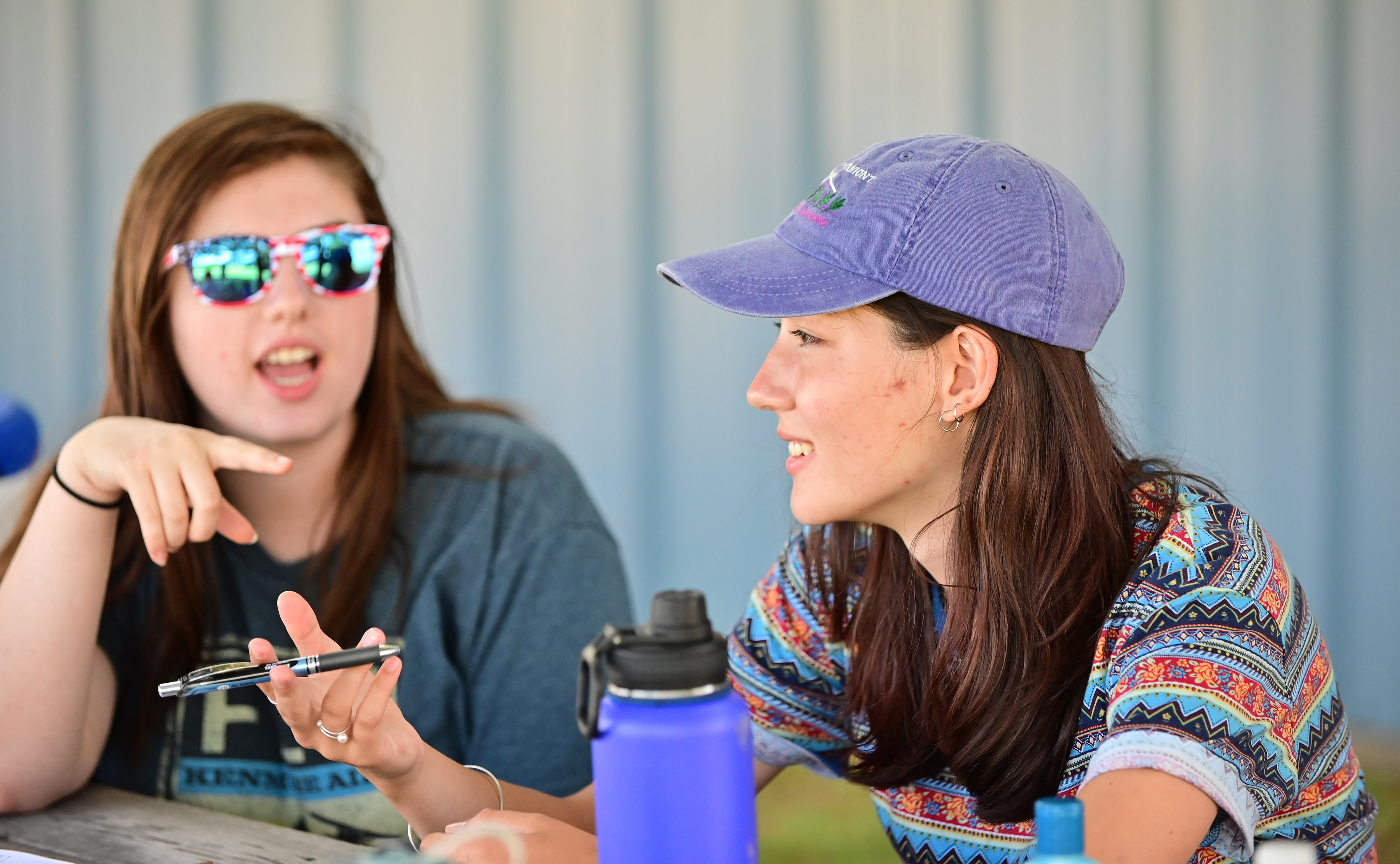 Sonia Talarek of New Jersey, right, who attended the Vermont youth glider camp for her third time, coaches fellow 16-year-old sailplane student Lauren Tulis. Photo by David Tulis.