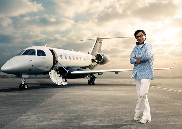 Brand ambassador, actor, and philanthropist Jackie Chan was the first customer in China to take delivery of the new Embraer Legacy 500 midsize business jet, which features fly-by-wire technology, Rockwell Collins Pro Line Fusion avionics, and a flat-floor cabin for its eight passengers. Photos courtesy of Embraer.