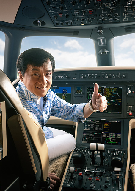 Brand ambassador, actor, and philanthropist Jackie Chan was the first customer in China to take delivery of the new Embraer Legacy 500 midsize business jet which features fly-by-wire technology, Rockwell Collins Pro Line Fusion avionics, and a flat-floor cabin for its eight passengers. Photo courtesy of Embraer.