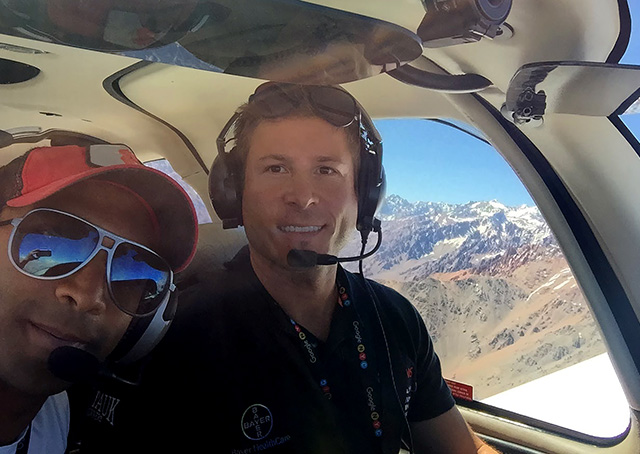 Fly for MS pilots Fouad Ahmed and Tomas Vykruta fly near the Andes Mountains outside of Santiago, Chile. Photo courtesy of FlyforMS.org.