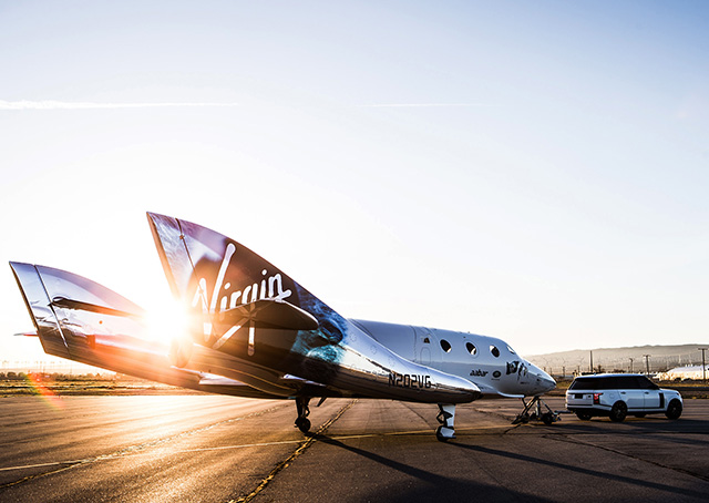 Less than two years after its first SpaceShipTwo was lost in an accident, Richard Branson's Virgin Galactic rolled out Virgin Space Ship Unity on Feb. 19. Photo courtesy of Jack Brockway, Virgin Galactic.