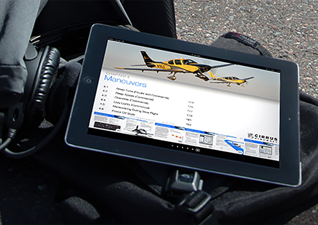 Cirrus Aircraft launched an Apple iOS-based interactive iBook flight manual designed for use on the iPhone, iPad, and Apple computer platforms, the company announced Jan. 21. Photo courtesy of Cirrus Aircraft.