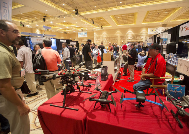 Drones remain a hot item at trade shows, and online, and the FAA registry for small UAS operated by hobbyists has logged nearly 300,000 entries. (Photo by Jim Moore taken at InterDrone 2015 in Las Vegas.)