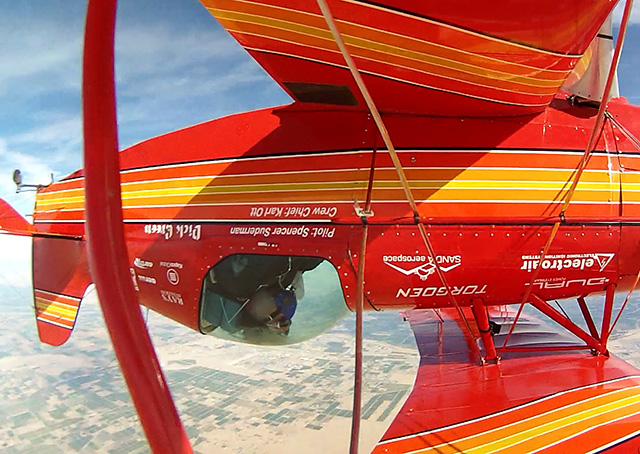 California airshow performer Spencer Suderman performs 98 inverted flat spins with a Sunbird S-1x in a world-record attempt from 24,500-feet March 20. Photo courtesy of Spencer Suderman.