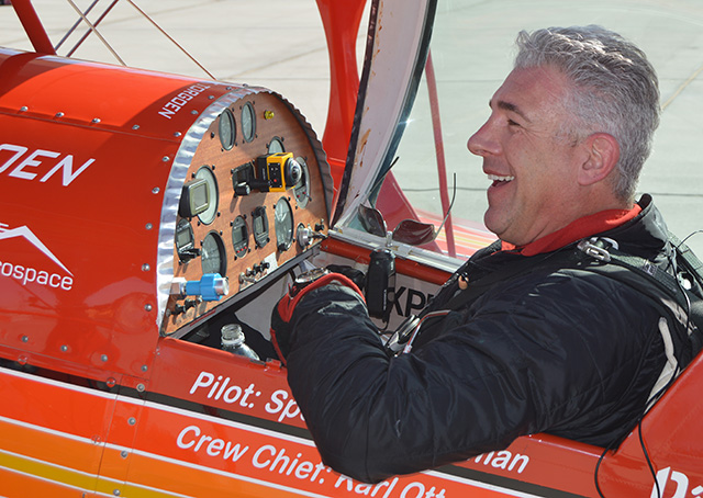 Airshow performer Spencer Suderman celebrates his 98 inverted flat spins after landing March 20. Photo courtesy of Spencer Suderman.