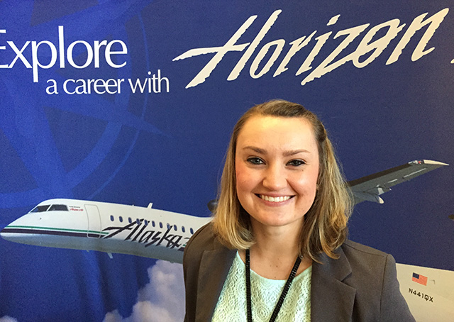 Embry-Riddle Aeronautical University graduate and Horizon Air first officer Anna Chrzanowski offers tips for college aviators transitioning to career pilots. Photo by David Tulis.