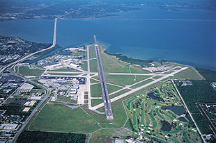 Aerial view of St. Petersburg-Clearwater International Airport (PIE) facing north. Photo by George A. Kounis.
