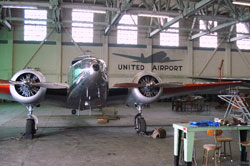 Amelia Electra in hangar: Painted to look like Earhart's Electra, Shepherd's airplane is in a hangar waiting to be filmed.