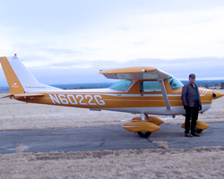 Gebhardt gives instruction in his Cessna 150 at Roundup Airport.
