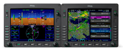 Avidyne Entegra Release 9 avionics system including dual displays for KC-100.