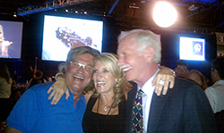 "Pilot/actor Kurt Russell and Capt. ""Sully Sullenberger hamming it up with a fan at the EAA Gathering of Eagles fundraising dinner."