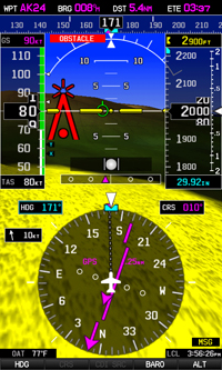 Garmin synthetic vision showing obstacle