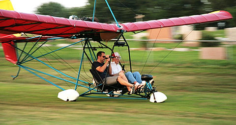 Lefty, on his 93rd birthday, flies with his grandson in a two-seat Quicksilver Sprint.