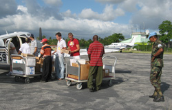 pilots unload supplies