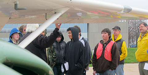 Volunteer pilots explain the parts of a Cessna 172 and how they work.