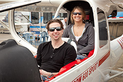 Sean O'Donnell (front) and Heather Schultz fly above their disabilities to earn their pilot certificates.