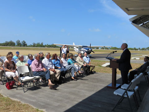 ribbon cutting ceremony at venice municipal airport