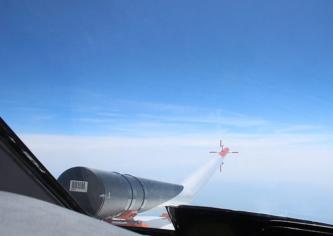 A probe attached to a Cessna Citation emits ultraviolet laser light. The backscatter reveals disturbances in clear air. Photo courtesy DLR