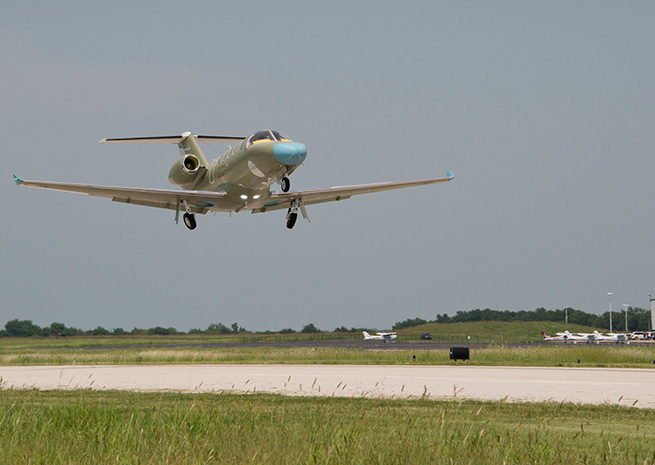 The Cessna Citation M2 lifts off from Independence, Kan. on Aug. 23. Cessna Aircraft Co. photo