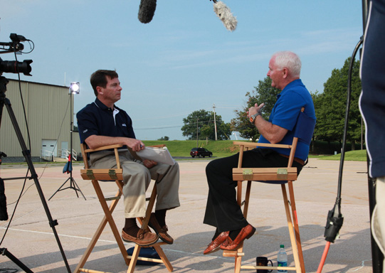 Tom Haines, left, interviews Mark Baker for AOPA Live