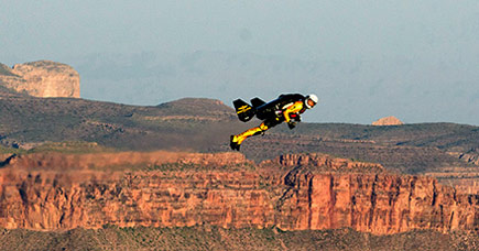 Jetman flies over the Grand Canyon.