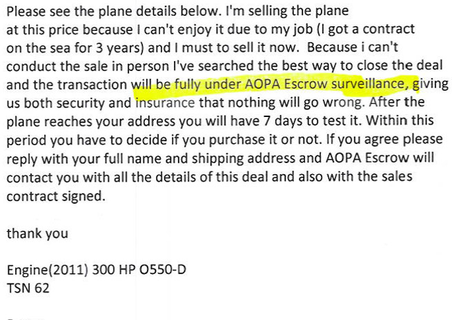 Scammers using AOPA name.