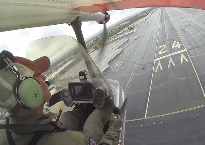 Erik Lindberg pilots the eSpyder, a flight documented by Lindbergh on YouTube in May.